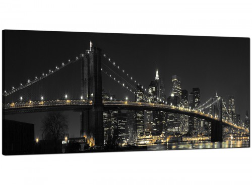Black-White Bedroom Panoramic Canvas of New York City Nyc