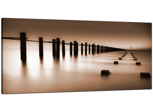 Brown Beige Coloured Beach Scene Landscape Canvas