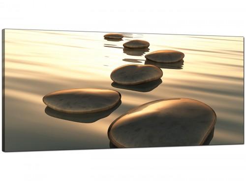 Modern Brown Zen Stepping Stones Lake Landscape Canvas