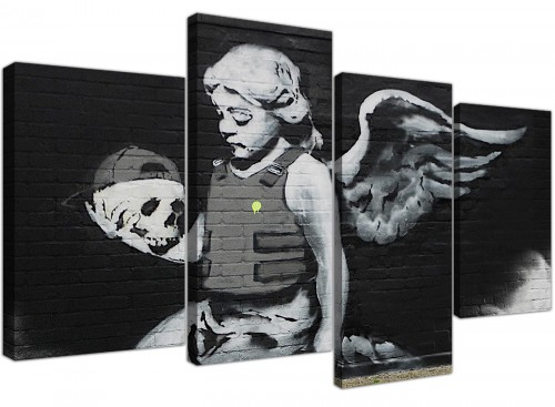 Ozones Angel Black and White Banksy Canvas Wall Art
