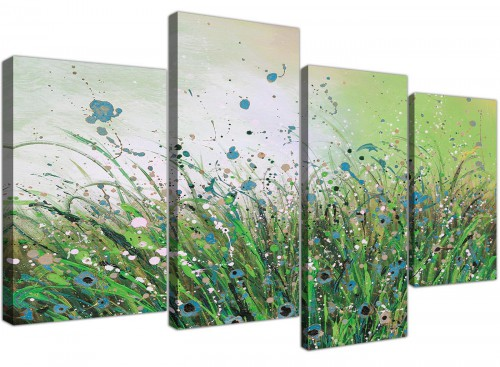 Green White Flowers Abstract Floral Canvas