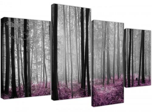 Modern Black Grey Plum Purple Forest Trees Landscape Canvas