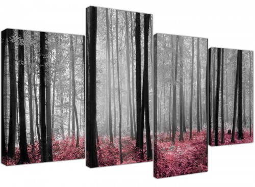 Black White Pink Grey Forest Woodland Trees