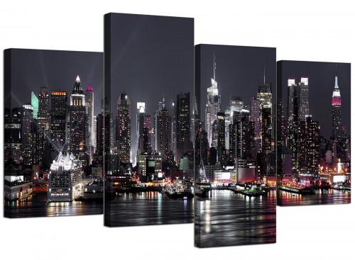 New York City Skyline - Black White Cityscape Canvas