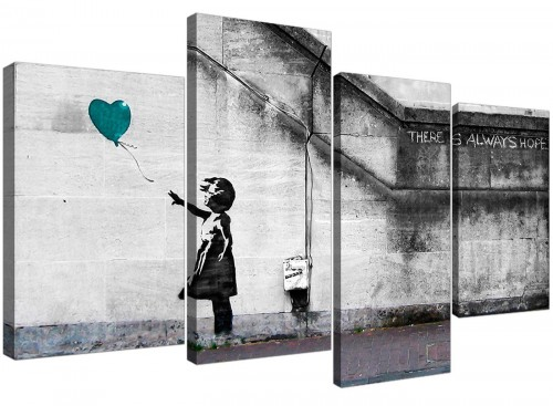 Modern Banksy Balloon Girl Teal Heart Hope Canvas