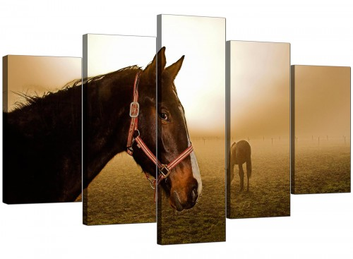 Set Of Five Extra-Large Brown Canvas Art