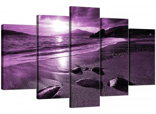 Modern Purple Sunset Beach Scene Landscape Canvas
