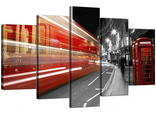 Black White Red London Bus Street Scene Cityscape Canvas