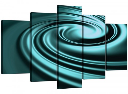 Five Part Set of Extra-Large Teal Canvas Wall Art
