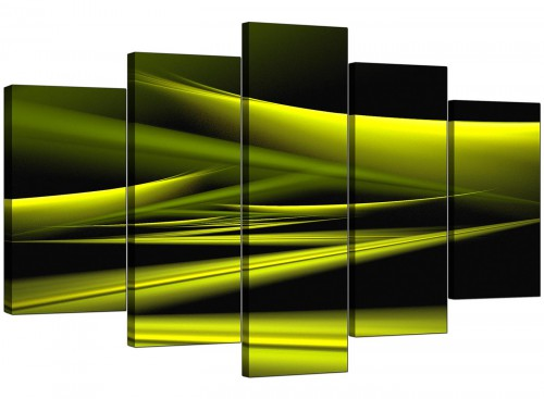5 Part Set of Extra-Large Lime Green Canvas Wall Art