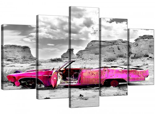 Set Of 5 Living-Room Pink Canvas Prints