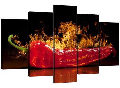 5 Piece Set of Living-Room Red Canvas Picture