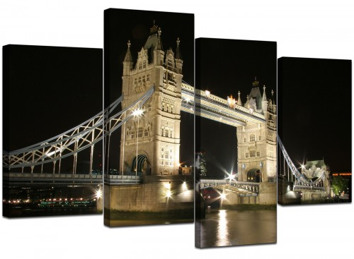 4 Part Set of Extra-Large Black White Canvas Picture
