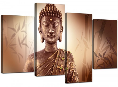 Set Of 4 Cheap Brown Canvas Art