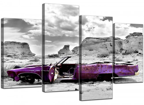 Four Panel Set of Cheap Purple Canvas Pictures