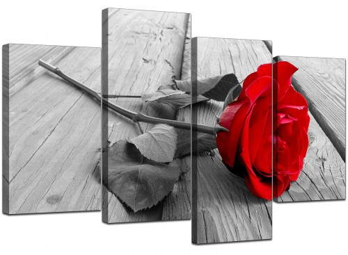 Red Rose Grey Black White Flower Floral Modern Canvas Art