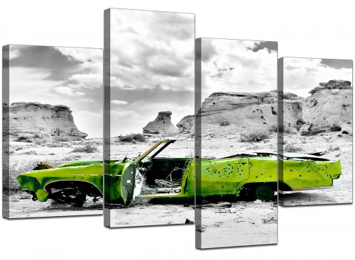 4 Piece Set of Living-Room Green Canvas Wall Art