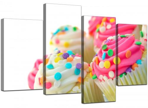 Four Part Set of Cheap Pink Canvas Art