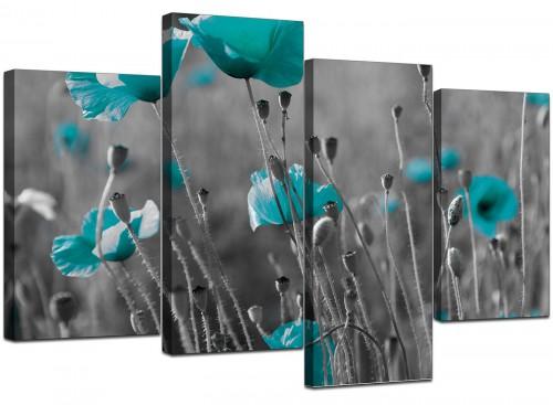 Teal Poppy Grey Black Poppies Flower Floral Canvas Art
