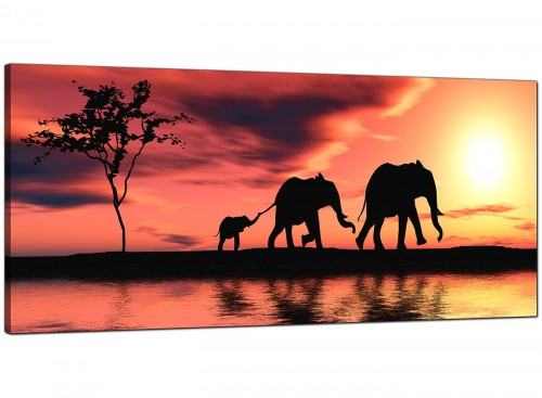 African Sunset Elephants Landscape Canvas
