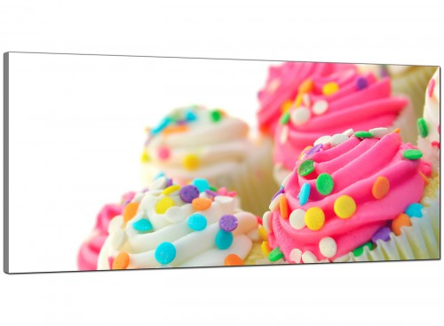 Pink Cheap Extra Large Kitchen Canvas of Cupcakes