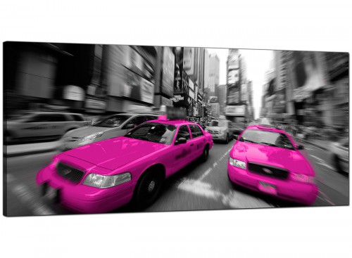 Pink Cheap Wide Canvas of Nyc Taxi