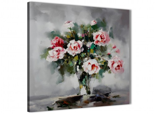 Pink Grey Flowers Painting Abstract Canvas Pictures