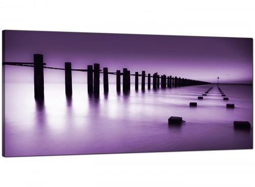 Purple White Beach Scene Landscape Modern Canvas Art