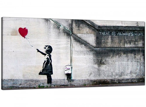 Red Living Room Wide Canvas of Banksy Graffiti