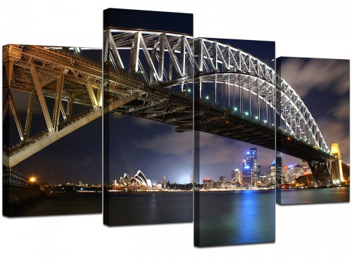 Set Of 4 Extra-Large Blue Canvas Picture