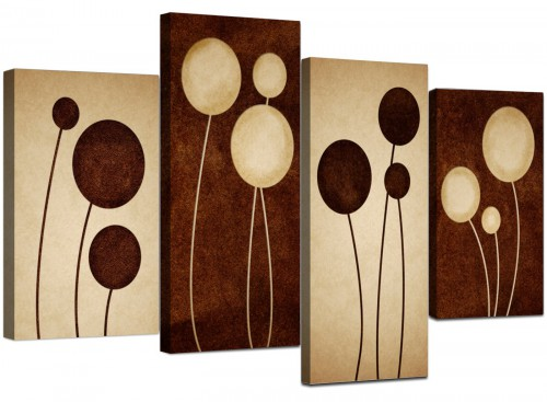 4 Piece Set of Living-Room Brown Canvas Wall Art