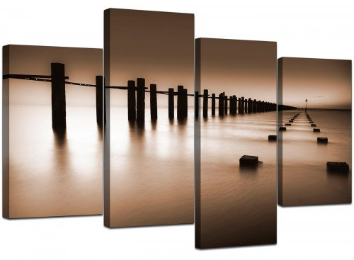 Set Of 4 Living-Room Brown Canvas Wall Art