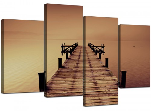 Four Panel Set of Living-Room Brown Canvas Picture