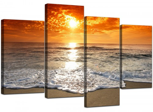 Four Part Set of Modern Orange Canvas Prints