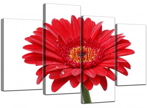 Set Of Four Living-Room Red Canvas Picture