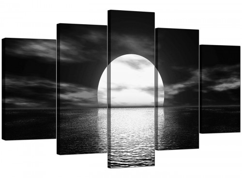 Five Panel Set of Living-Room Black White Canvas Prints