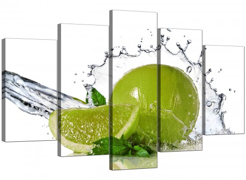 Lime Green White Fruit Splash Kitchen Canvas