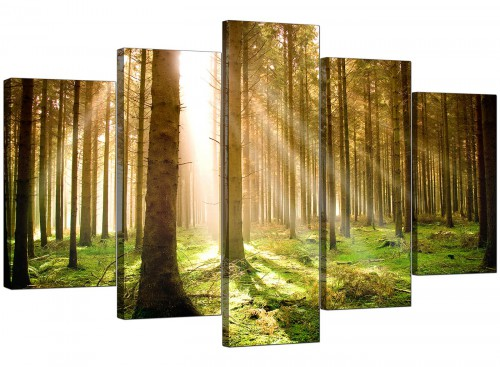 5 Part Set of Living-Room Green Canvas Pictures