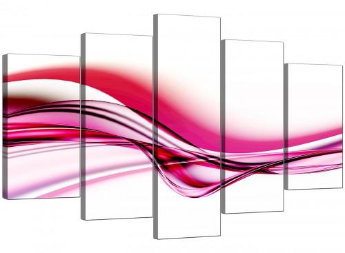 Set Of Five Modern Pink Canvas Prints