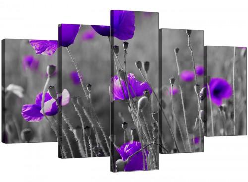 Five Part Set of Extra-Large Purple Canvas Picture
