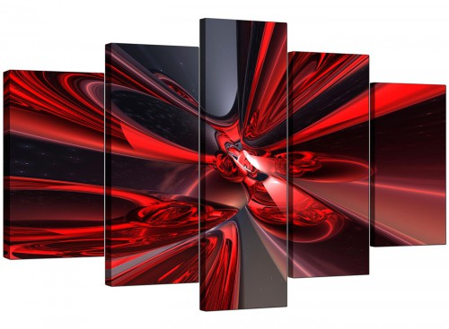 5 Part Set of Cheap Red Canvas Prints