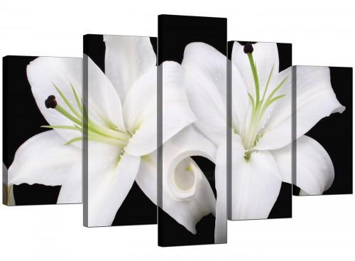 5 Part Set of Living-Room Black White Canvas Prints