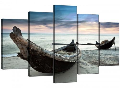 Thailand Fishing Boats Sunset Beach Modern Canvas Art