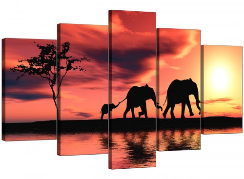 Set Of Five Cheap Orange Canvas Wall Art