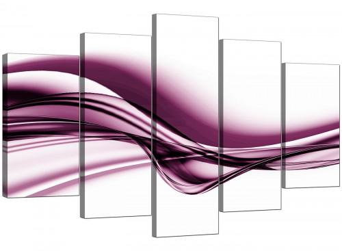 Plum Purple White Wave Abstract Canvas