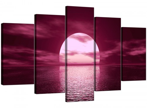Set Of Five Cheap Plum Canvas Art
