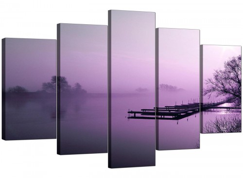 Set Of Five Modern Purple Canvas Pictures
