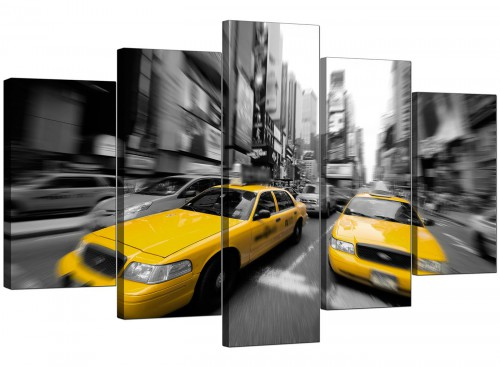 5 Piece Set of Living-Room Yellow Canvas Art