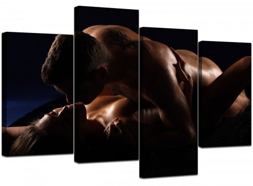 Set Of Four Living-Room Black White Canvas Pictures