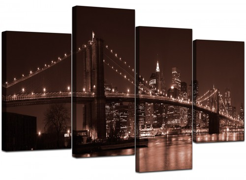 Four Panel Set of Cheap Brown Canvas Picture